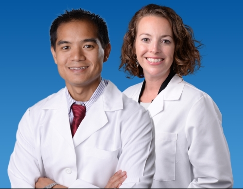 neonatologists Ramon Ymalay, M.D., and Courtney DeJesso, M.D.,